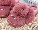 Тапочки домашні жіночі кімнатні Кролики. Теплі хутряні капці Зайчики, р. 36-37 Світло рожевий, фото 5