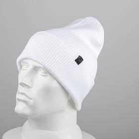 Молодежная шапка Резинка с отворотом (20102) Белый