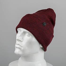 Молодежная шапка Резинка с отворотом (20102) Бордовый меланж