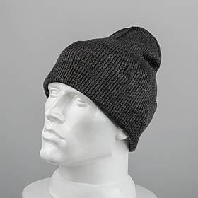 Молодежная шапка Резинка с отворотом (20102) Темно-серый меланж