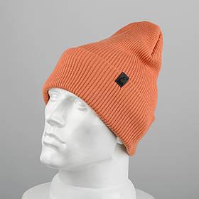 Молодежная шапка Резинка с отворотом (20102) Терракот