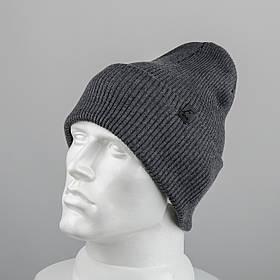Молодежная шапка Резинка с отворотом (20102) Серый