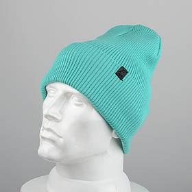 Молодежная шапка Резинка с отворотом (20102) Мята