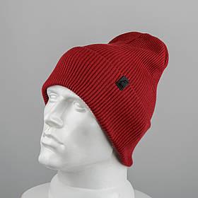 Молодежная шапка Резинка с отворотом (20102) Бордо
