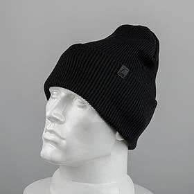 Молодежная шапка Резинка с отворотом (20102) Черный