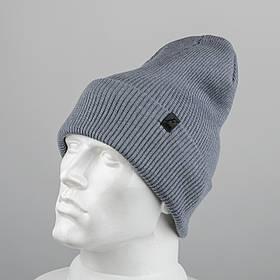 Молодежная шапка Резинка с отворотом (20102) Серо-голубой