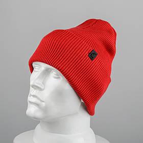 Молодежная шапка Резинка с отворотом (20102) Красный