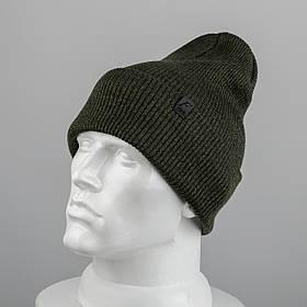 Молодежная шапка Резинка с отворотом (20102) Хаки меланж
