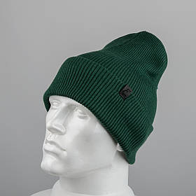 Молодежная шапка Резинка с отворотом (20102) Зеленый