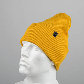 Молодежная шапка Резинка с отворотом (20102) Горчичный