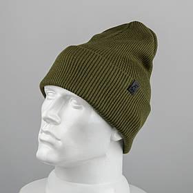 Молодежная шапка Резинка с отворотом (20102) Хаки