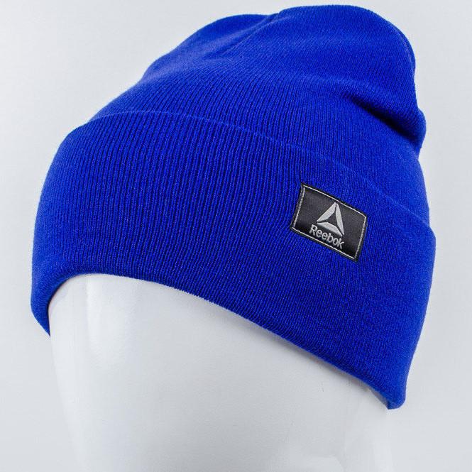 Молодежная шапка Рожки Reebok (реплика) синий