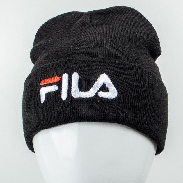 Молодежная шапка Рожки Fila (реплика) черный