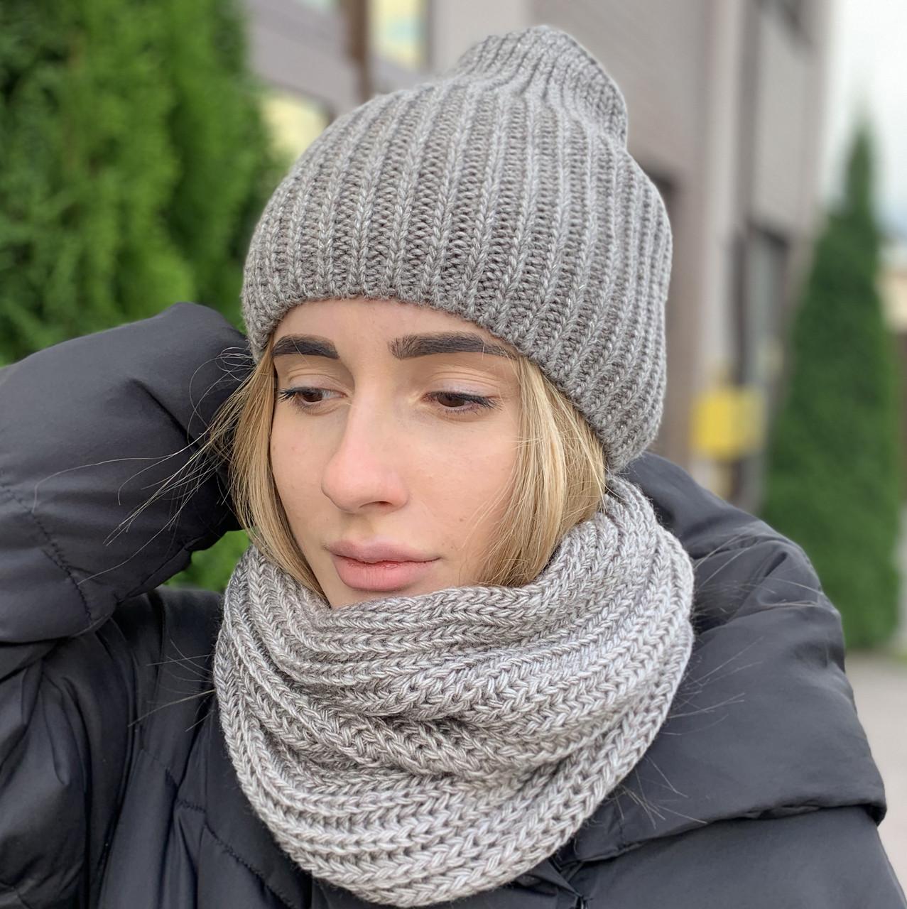 """Удлиненная женская шапка """"Невада"""" с люрексом капучино"""