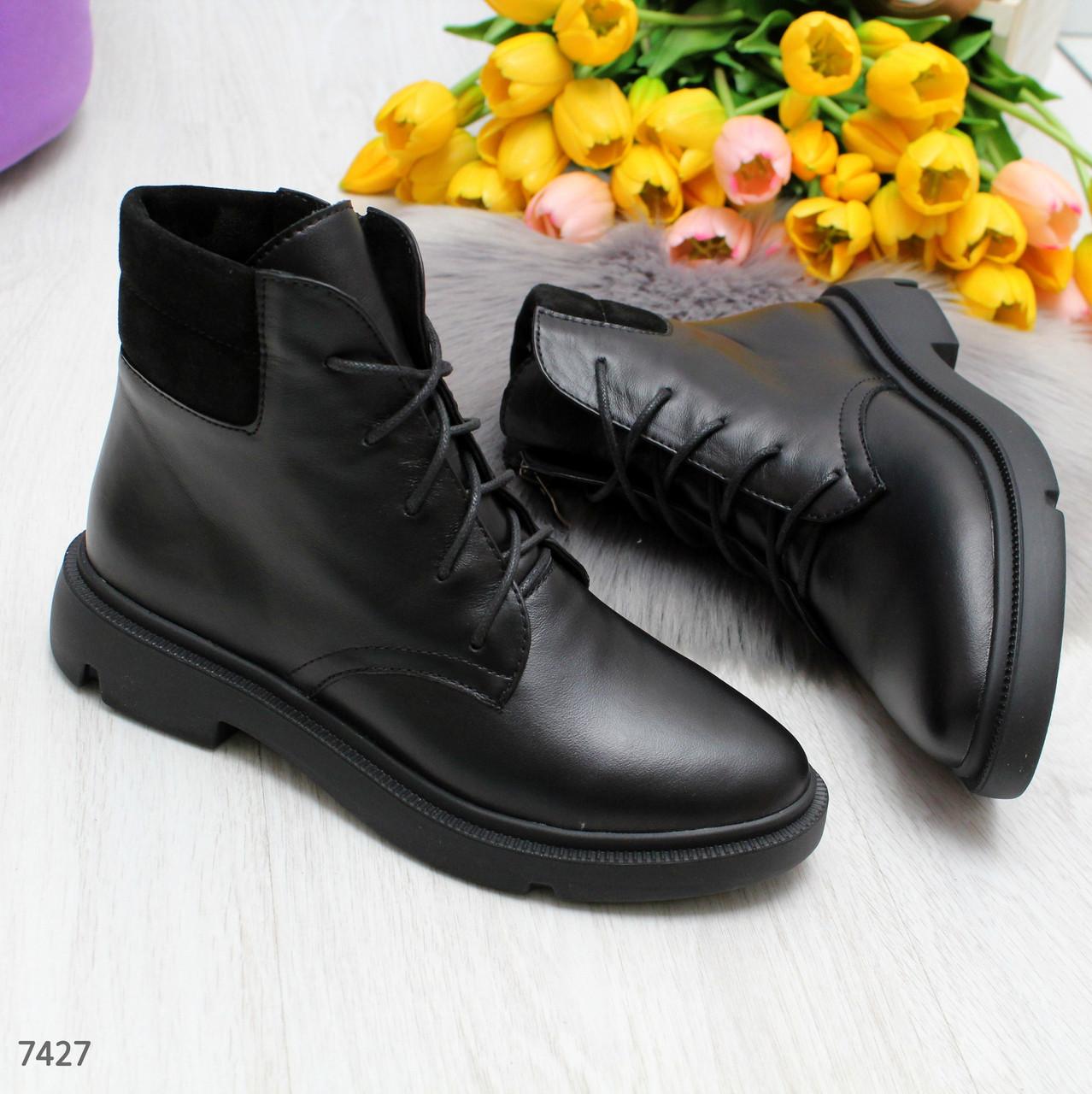 Черные демисезонные женские ботинки из натуральной кожи классического дизайна