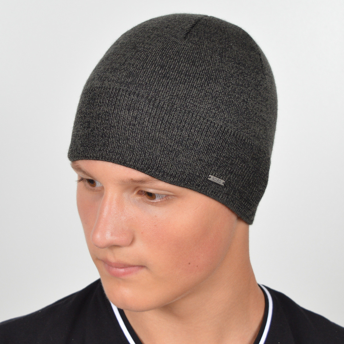 Мужская вязанная шапка 15046 серый меланж