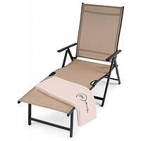 Шезлонг пляжный и садовый складной Bolzano бежевый лежак с алюминиевой рамой с нагрузкой до 120 кг