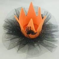 Шпилька Коронка з чорним фатином на Хелловін