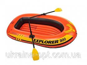 Лодка 2-х местная 211х117х41 нагрузка 186 кг с веслами и насосом  Intex 58332 Explorer 300 Set