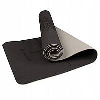 Коврик (мат) для йоги и фитнеса 183 х 61 х 0.6 см Springos TPE YG0013 Black/Grey для дома и спортзала