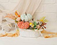 Осенняя композиция с 3-мя тыквами и грибами. В металлич. кашпо