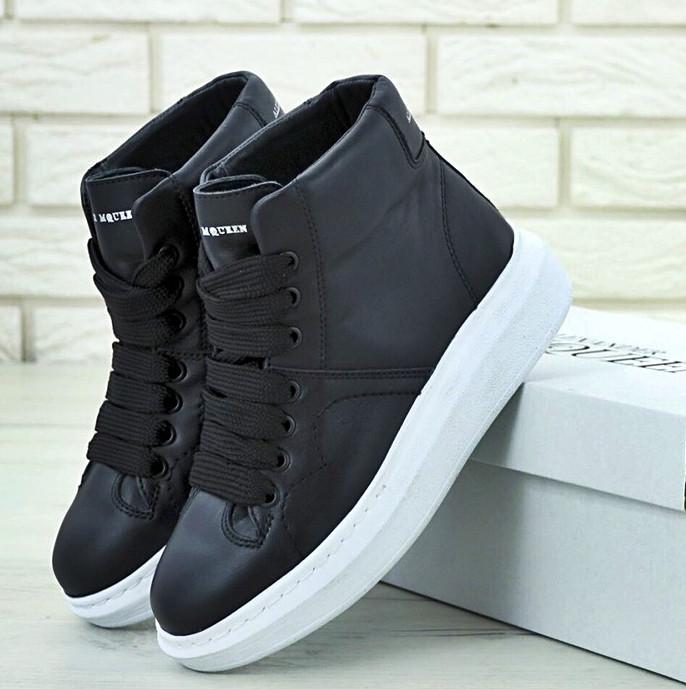 Женские кроссовки в стиле Alexander McQueen High Leather Black/White Черные