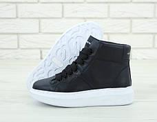 Женские кроссовки в стиле Alexander McQueen High Leather Black/White Черные, фото 3