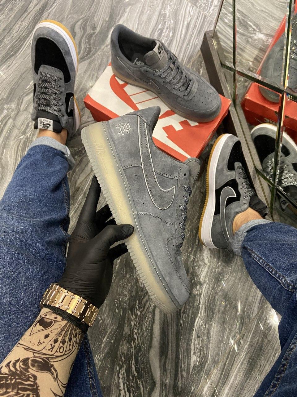 Кроссовки мужские Nike Air Force Luxury Suede Grey Кроссовки найк Найк мужские кроссовки