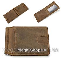Мужской кожаный кошелек FR411124 Olive. Зажим для денег. Шкіряний гаманець