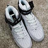 Кроссовки мужские Nike Air Force 1 High White Black Кроссовки найк Найк мужские кроссовки, фото 2
