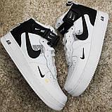 Кроссовки мужские Nike Air Force 1 High White Black Кроссовки найк Найк мужские кроссовки, фото 6