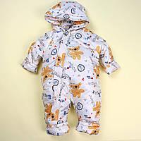 Комбінезон для хлопчика молочний Ведмедик тм Одягайко розмір 80