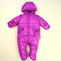 Дитячий комбінезон для дівчинки Бантики фіолетовий тм Одягайко розмір 68,74