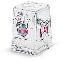 Стакан для зубных щёток Tatkraft Acryl Funny Cats из небьющегося акрила (12967)
