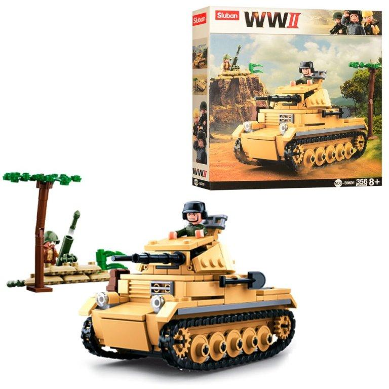Конструктор SLUBAN M38-B0691 военный, танк, фигурка, 356 дет, в кор-ке, 28,5-28,5-5,5см