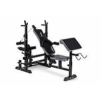 Скамья тренировочная со стойками Trex Sport TX-075 + парта Скотта + нижняя тяга с нагрузкой до 300 кг