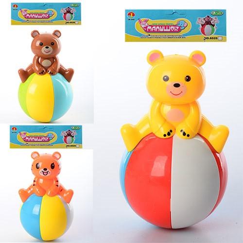 Неваляшка 6526-B-С 13см, 2вида (мишка, тигр), звук, в кульке, 15-20-8см