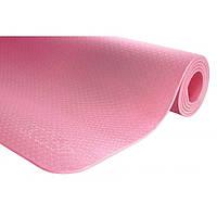 Коврик (мат) для йоги и фитнеса 183 х 61 х 0.6 см 4FIZJO TPE 4FJ0152 Pink для дома и спортзала