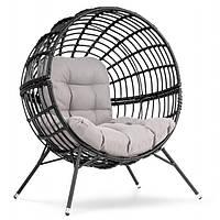 Кресло кокон плетенное на ножках Arancia черное для дома, сада, кафе и ресторанов с нагрузкой до 150 кг