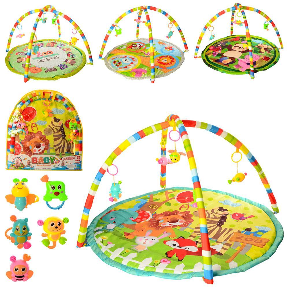 Коврик для младенца 056-7-8-9-60-1 86-84-1см,дуга 2шт, подвески5шт,4в, в кор-ке,61-66-3см