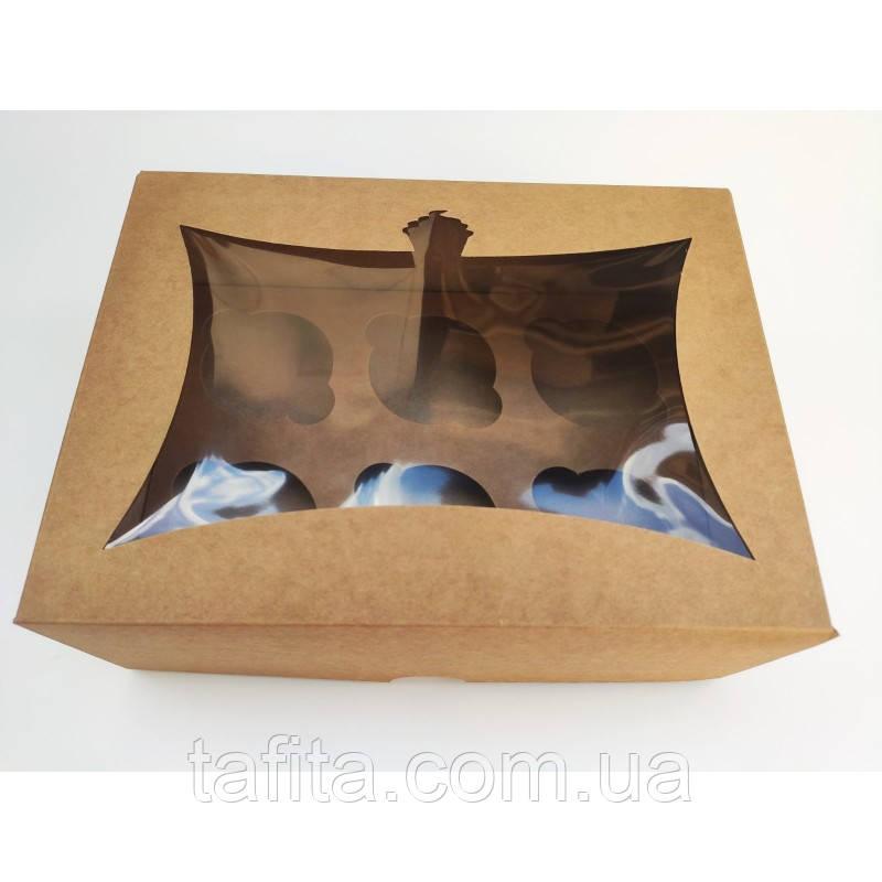 Коробка на 6 капкейків з вікном крафт (240х180х90)