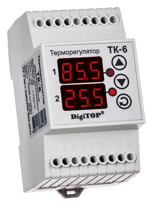 Регулятор температуры ТК-6 (двухканальный, датчик DS18B20) DIN