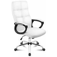 Офисное кресло на колесиках белого цвета Manager white стул компьютерный оббивка экокожа до 150 кг