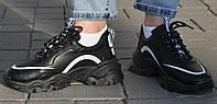 Демисезонные кроссовки из Pu-кожи черные. Размеры 34 и 36. Violeta 139-13.
