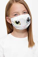 Многоразовая детская текстильная маска на резинке с принтом кота, фото 1
