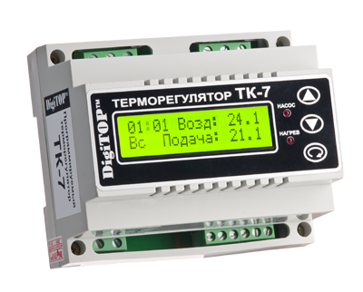 Регулятор температуры ТК-7 (трехканальный с недельным программатором, датчик DS18B20) DIN