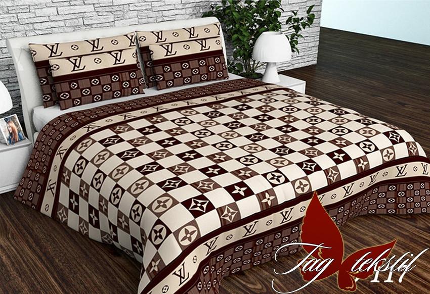 Полуторный комплект постельного белья бежевого цвета в клеточку, Ранфорс
