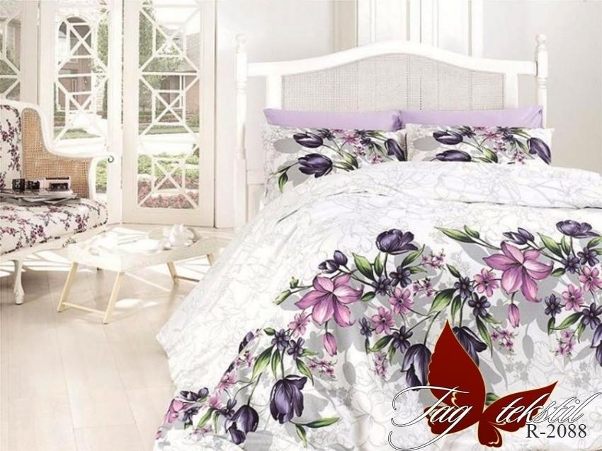 Полуторный комплект постельного белья белого цвета с цветами, Ранфорс