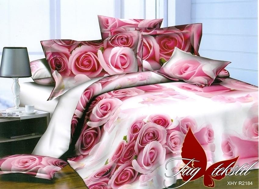 Полуторний комплект постільної білизни білого кольору з трояндами, Полисатин