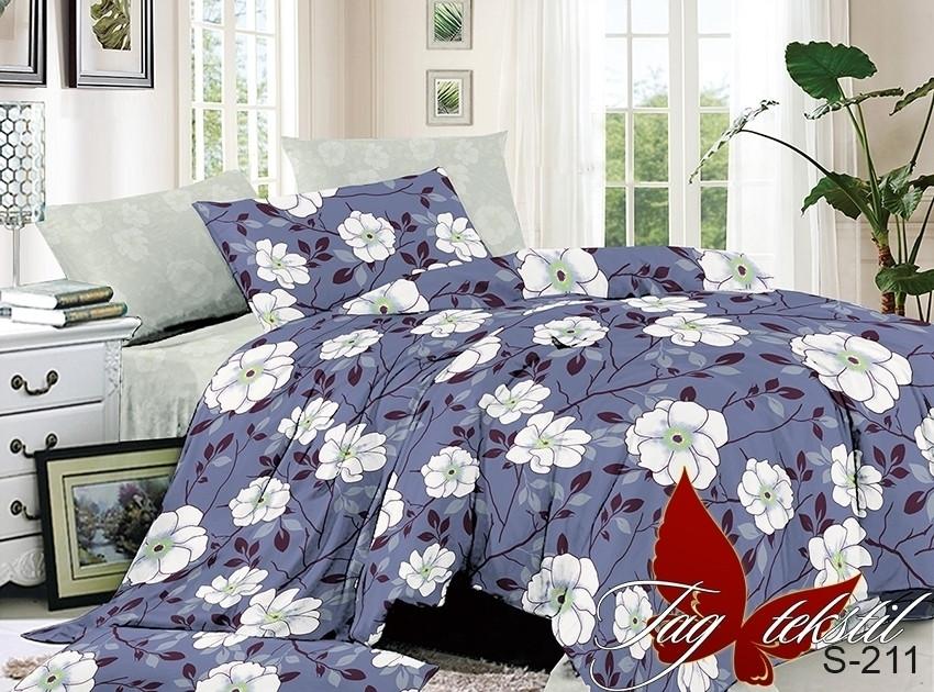 Полуторный комплект постельного белья синего цвета с цветами, Сатин-люкс